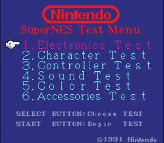 Super Nintendo SNES Test Program